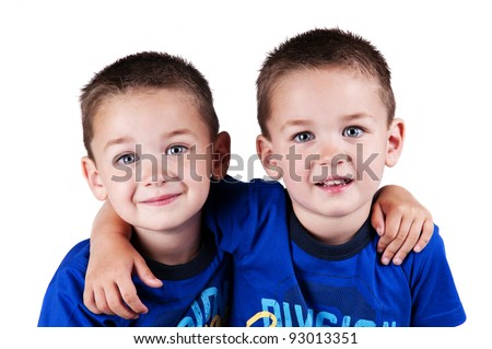 twin brothers isolated - stock photo