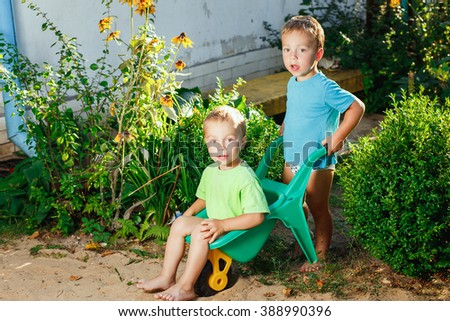 Twin brothers playing using a garden carts - stock photo