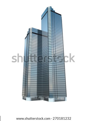 twin business skyscraper isolated on white background.