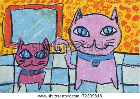 Twin cat as free hand drawing from color crayon techniques from 5 years old Thai young artist illustrated children are learning kind - stock photo