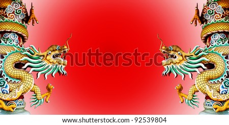 Twin Chinese style dragon statue with  abstract red background. - stock photo