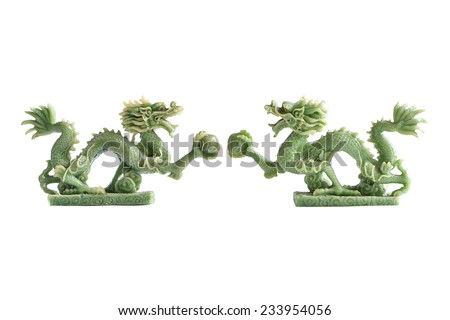 Twin jade dragon isolated on white background - stock photo