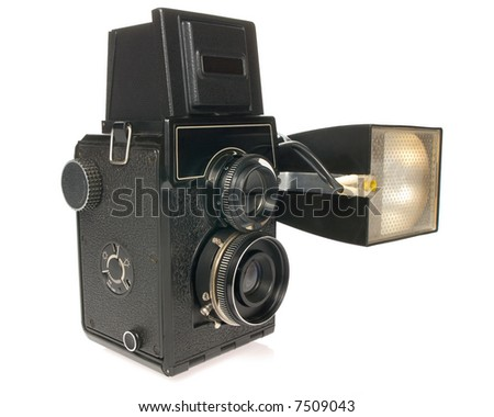 Twin-lens camera with flash