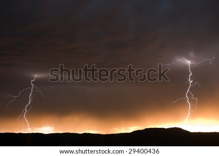 Twin Lightning Bolts - stock photo