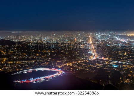 Twin Peaks and Downtown San Francisco during sunset