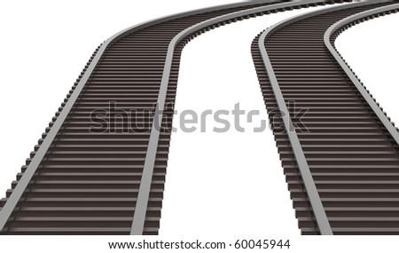 Twin rails - stock photo