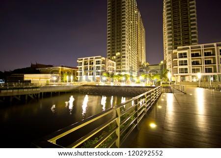 Twin towers at night, bangkok,Thailand - stock photo