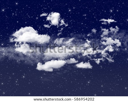 Twinkle night sky and grain smoothy cloud