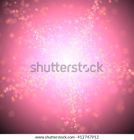 twinkling glitter with vibrant bokeh effect forming a star in shades of white, pink and orange in front of a dark purple background with a bright highlight in the center (3D illustration) - stock photo