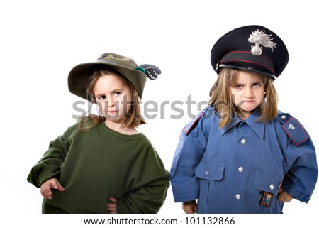 twins children in similar italian military army, alpino and carabiniere
