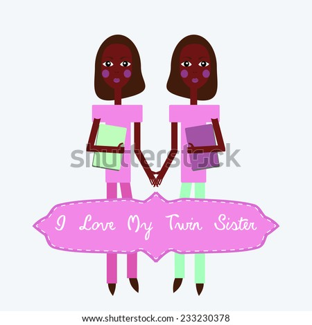 Twins Love My Twin Sister Happy Illustration 233230378 – Twin Sister Birthday Card