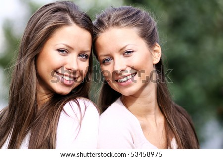 Twins of sister - stock photo