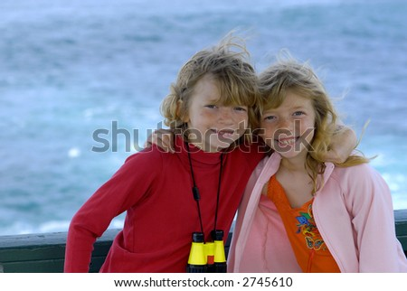 Twins on Vacation - stock photo