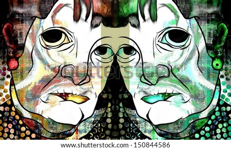 Twins or Janus or Two Faces - stock photo