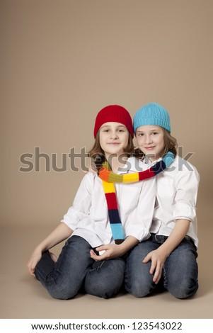 Twins portrait - stock photo