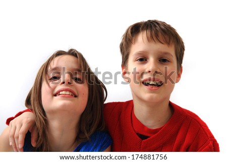 twins portrait (brother and sister)  - stock photo