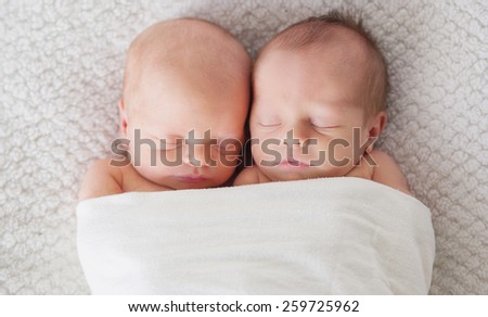 Twins Wrapped in a Blanket - stock photo