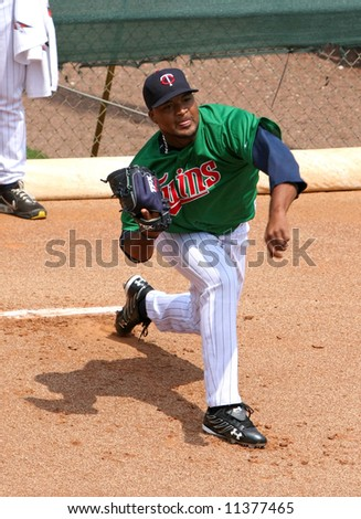 Twinspitcher Francisco Liriano in the bullpen at spring training in ft. myers, Florida - stock photo
