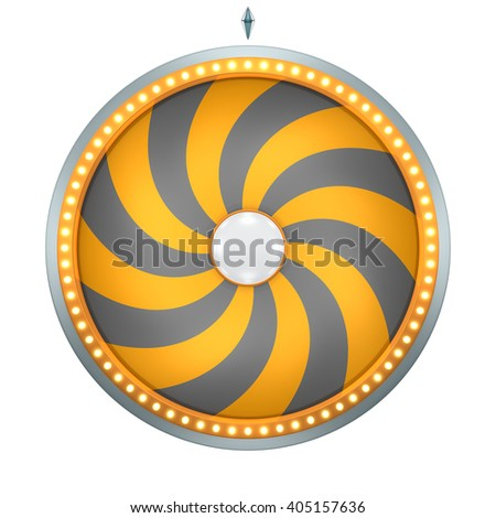 Twirl graphic with Wheel of fortune create by 3D illustration. This graphic is isolated on white background - stock photo