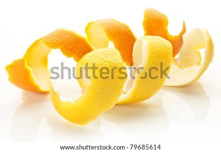 Twist of citrus peel on a white background. - stock photo