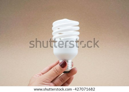 Twist spiral LED light bulb in hand with brown background