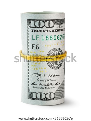 Twisted and tapered rubber band hundred-dollar bills isolated on white background - stock photo