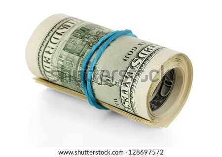 Twisted bundle 100 dollar bills isolated on white - stock photo