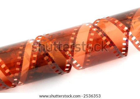 Twisted colored filmstrip isolated on white background