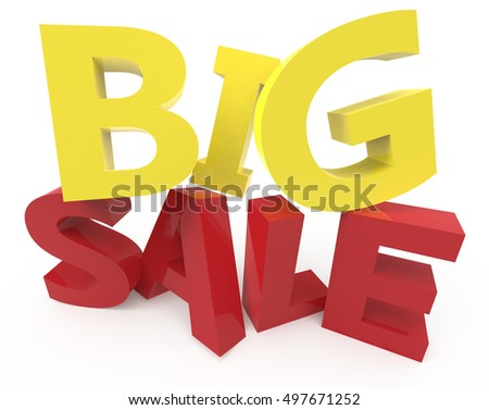 twisted 3d rendering of yellow and red big sale, isolated on white background, right leaning