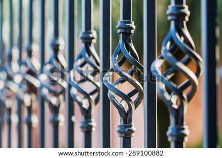 Twisted fence blurred - stock photo