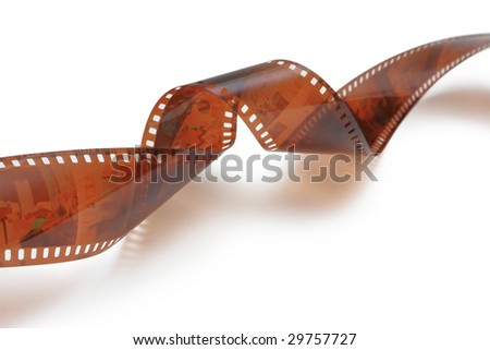 Twisted film on white background