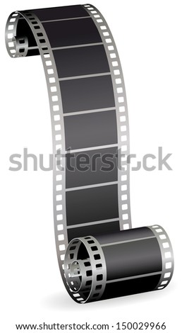Twisted film strip roll for photo or video on white background - stock photo