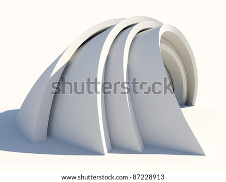 Twisted futuristic architecture form on white - stock photo