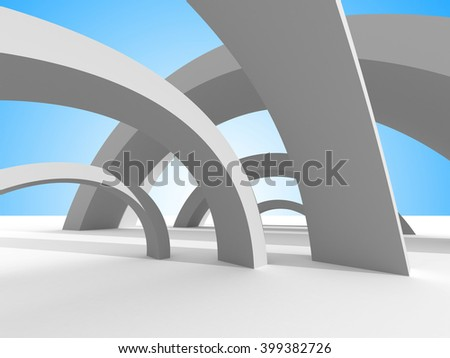 Twisted futuristic architecture on sky background. 3d render illustration - stock photo