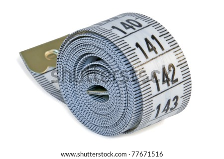 Twisted gray tape measure isolated - stock photo