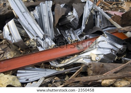 Twisted Metal at Construction Site from Building Demolition - stock photo