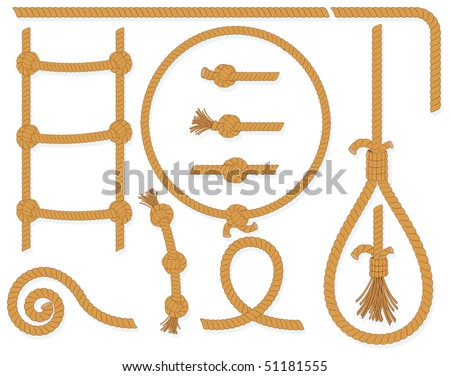 Twisted rope collection- isolated  design elements:gallows, ladder, cable, lasso, knots, loop, spiral etc.. (available in eps id=51105781) - stock photo