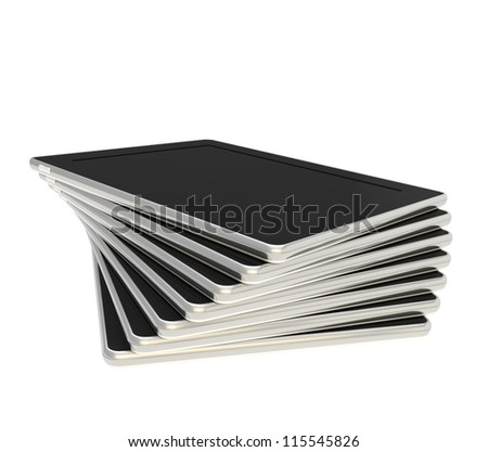 Twisted stack of pad black tablet electronic devices isolated on white background