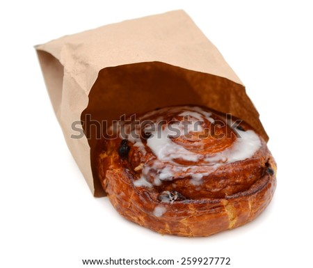 twisted sweet buns in bag - stock photo