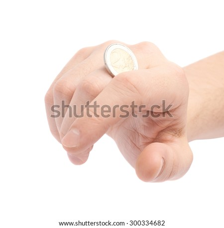 Twisting two euro coin with the knuckles, close-up composition isolated over the white background - stock photo