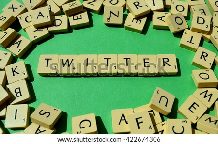 Twitter letters scrabble - stock photo