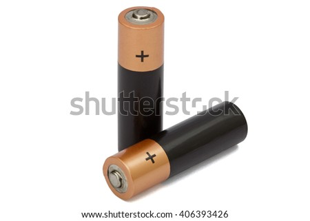 Two AA battery isolated on white, with clipping path - stock photo