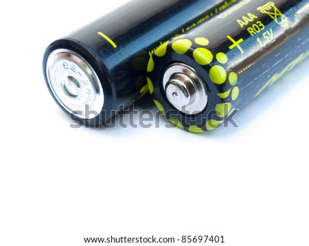 Two AAA batteries  isolated on a white background - stock photo
