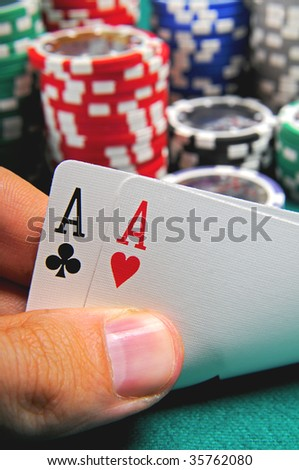 Two ace and poker chips stack