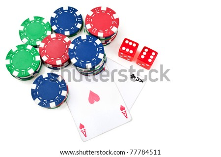 two aces and poker chips isolated on a white background - stock photo