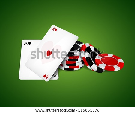 Two aces and poker chips. Raster version - stock photo