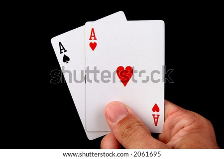 two aces hand of poker - stock photo