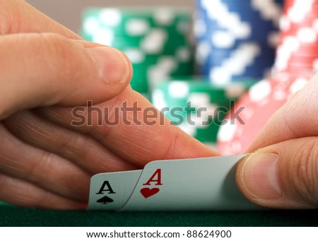 two aces in hand - stock photo
