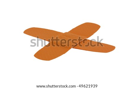 Two adhesive bandages in a cross, isolated on pure white - stock photo
