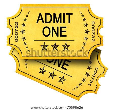 Two Admit One Tickets isolated on white - stock photo